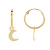 14K Gold Solid Crescent Hoop Earring 14K - Adina's Jewels