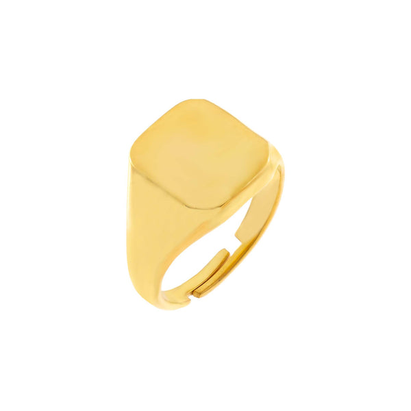 Gold / 6 Engravable Square Ring - Adina's Jewels