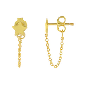 Gold Tiny Star Chain Stud Earring - Adina's Jewels