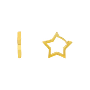 Gold Mini Open Star Huggie Earring - Adina's Jewels