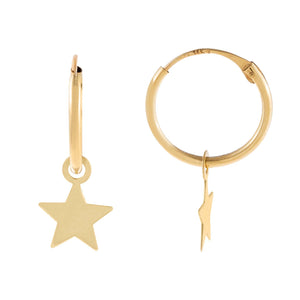 14K Gold Solid Star Hoop Earring 14K - Adina's Jewels