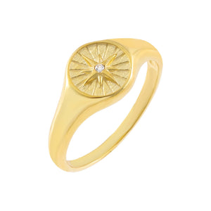 Gold / 5 CZ Starburst Signet Ring - Adina's Jewels