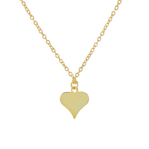 Gold Engraved Mini Solid Heart Necklace - Adina's Jewels
