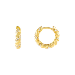 Gold Pavé X Solid Twisted Huggie Earring - Adina's Jewels