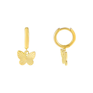 Gold Ridged Butterfly Huggie Earring - Adina's Jewels