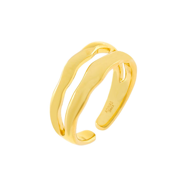 Gold Waved Double Row Ring - Adina's Jewels