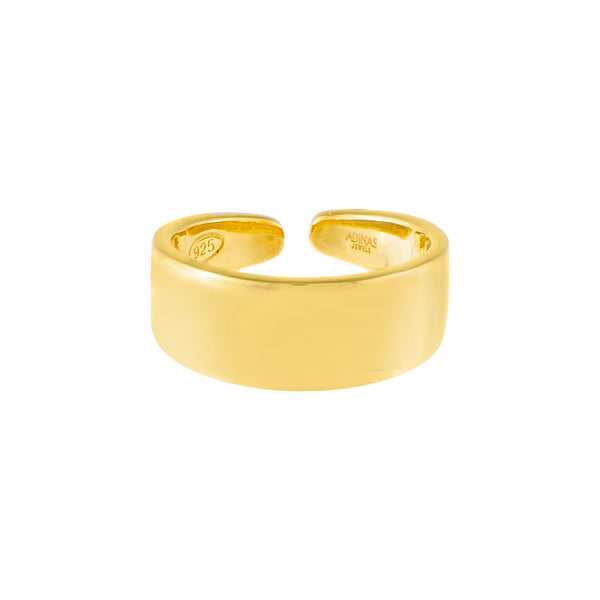 Gold Solid Wide Adjustable Ring - Adina's Jewels