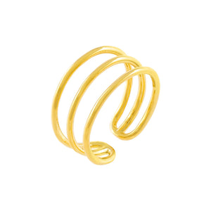 Gold Thin Triple Row Adjustable Ring - Adina's Jewels