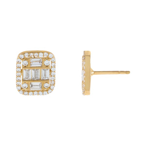 14K Gold CZ Illusion Emerald Stud Earring 14K - Adina's Jewels