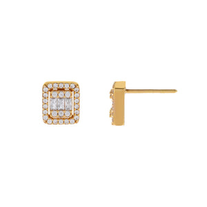 14K Gold CZ Small Illusion Baguette Stud Earring 14K - Adina's Jewels