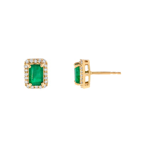 14K Gold Diamond X Emerald Square Stud Earring 14K - Adina's Jewels