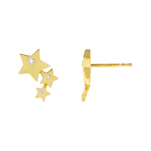 Gold CZ Triple Star Stud Earring - Adina's Jewels