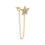 14K Gold / Single CZ Star Chain Stud Earring 14K - Adina's Jewels