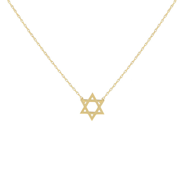 14K Gold Solid Star of David Necklace 14K - Adina's Jewels