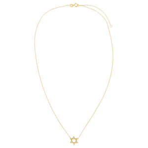 Solid Star of David Necklace 14K - Adina's Jewels