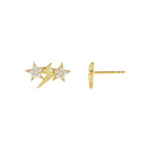 Gold Pavé Star X Lightning Stud Earring - Adina's Jewels