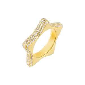 Gold / 6 Pavé Chunky Star Ring - Adina's Jewels