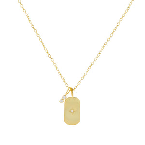 Gold CZ Starburst Dog Tag Necklace - Adina's Jewels