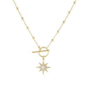 Gold CZ Starburst Toggle Beaded Necklace - Adina's Jewels