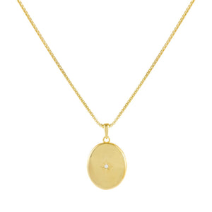 Gold CZ Starburst Locket Box Chain Necklace - Adina's Jewels