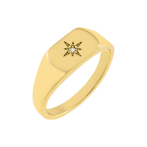 Gold / 6 Starburst Signet Ring - Adina's Jewels