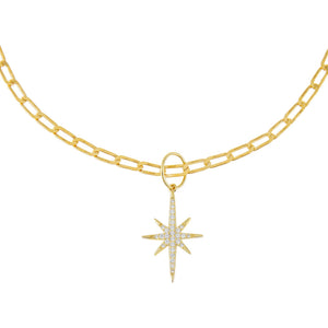 Gold Pavé Starburst Twisted Paperclip Choker - Adina's Jewels