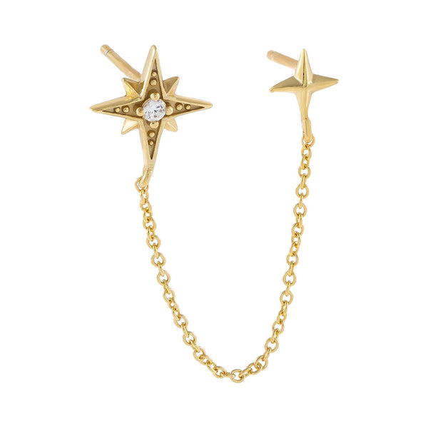 Gold CZ X Solid Starburst Chain Stud Earring - Adina's Jewels