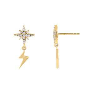 Gold Pavé Starburst X Lightning Stud Earring - Adina's Jewels