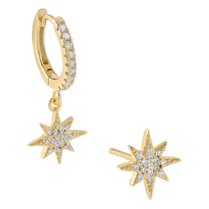 Gold Pavé Starburst Earring Combo Set - Adina's Jewels