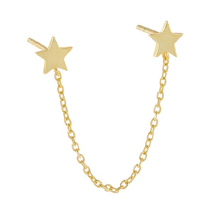 Gold / Single Double Star Chain Stud Earring - Adina's Jewels