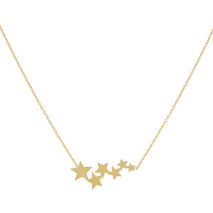 14K Gold Star Cluster Necklace 14K - Adina's Jewels