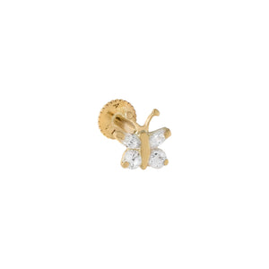 14K Gold / Single CZ Mini Butterfly Stud Earring 14K - Adina's Jewels