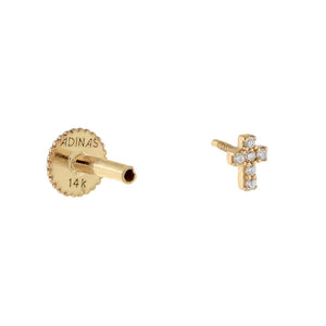 CZ Mini Cross Threaded Stud Earring 14K - Adina's Jewels