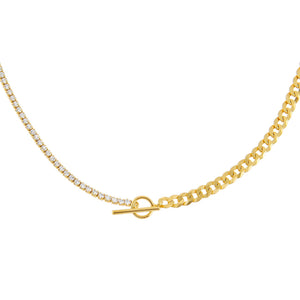 Gold Tennis X Curb Chain Necklace - Adina's Jewels
