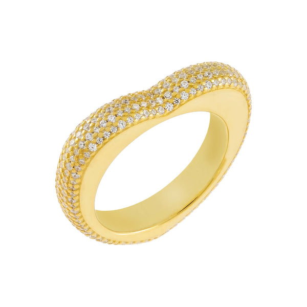 Gold / 8 Pavé Chunky Heart Ring - Adina's Jewels