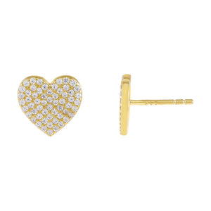 Gold Pavé Large Heart Stud Earring - Adina's Jewels
