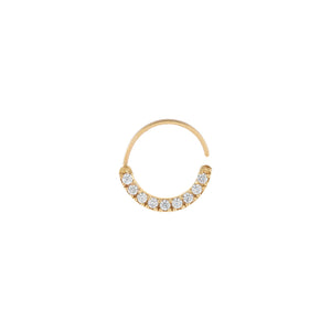 14K Gold / Single CZ Cartilage Hoop Earring 14K - Adina's Jewels