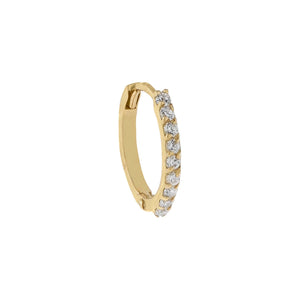 14K Gold / 1.25 MM / Single CZ Cartilage Huggie Earring 14K - Adina's Jewels