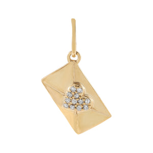 14K Gold Diamond Envelope Heart Charm 14K - Adina's Jewels