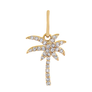 14K Gold Diamond Palm Tree Charm 14K - Adina's Jewels
