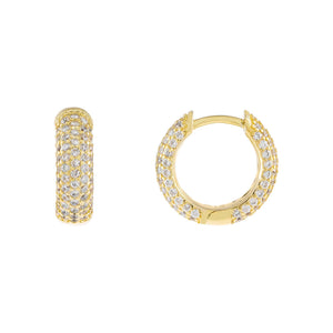 Gold Pavé Mini Huggie Earring - Adina's Jewels