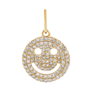 14K Gold Diamond Smiley Face Charm 14K - Adina's Jewels