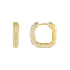 Gold Pavé Round Square Huggie Earring - Adina's Jewels