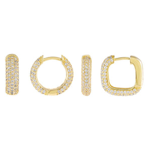 Gold Pavé Huggie Earring Combo Set - Adina's Jewels