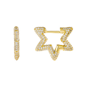 Gold Pavé Mini Starburst Huggie Earring - Adina's Jewels