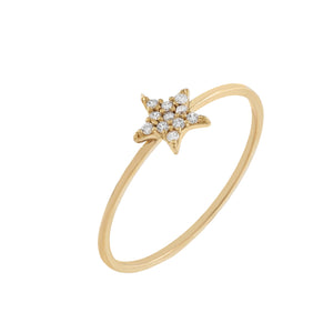 14K Gold / 7 Pavé Star Ring 14K - Adina's Jewels