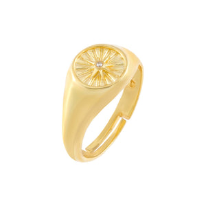 Gold CZ Starburst Adjustable Signet Ring - Adina's Jewels
