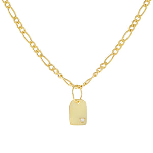 Gold CZ Dog Tag Figaro Choker - Adina's Jewels
