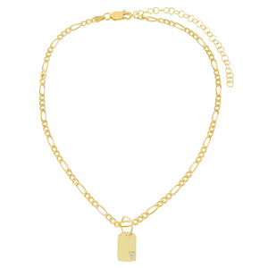 CZ Dog Tag Figaro Choker - Adina's Jewels