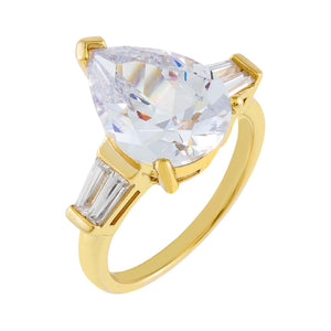 Gold / 5 CZ Pear X Baguette Travel Ring - Adina's Jewels